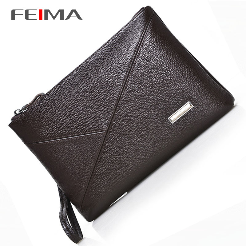 100% Genuine Leather Wallet High quality Fashion Cowhide Men Wallets Large Capacity Clutch Envelope Bag Men Purses Brown Black