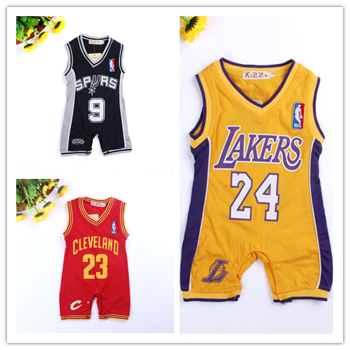 2015 Summer New Style Laker Baby Boys Rompers Basketball sports romper DS10(China (Mainland))