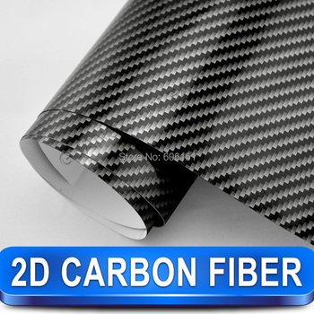 Black 2D Carbon Fiber Sticker 1.52*30m Glossy High Quality Calendared PVC Car Decoration Vinyl Free Shipping Wholesale