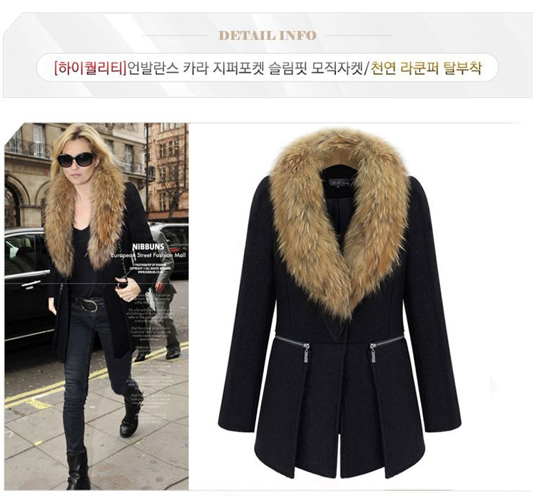 Girls Fur Collar Thick Wool Coat fashion Ladies' Warm Long Sleeve Outwear Solid Black big size - Oriental Beauty World store