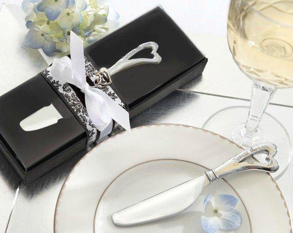 Free Shipping Bridal Shower favors 100 PCS/LOT Sweet Heart Butter Knife Wedding gift(China (Mainland))