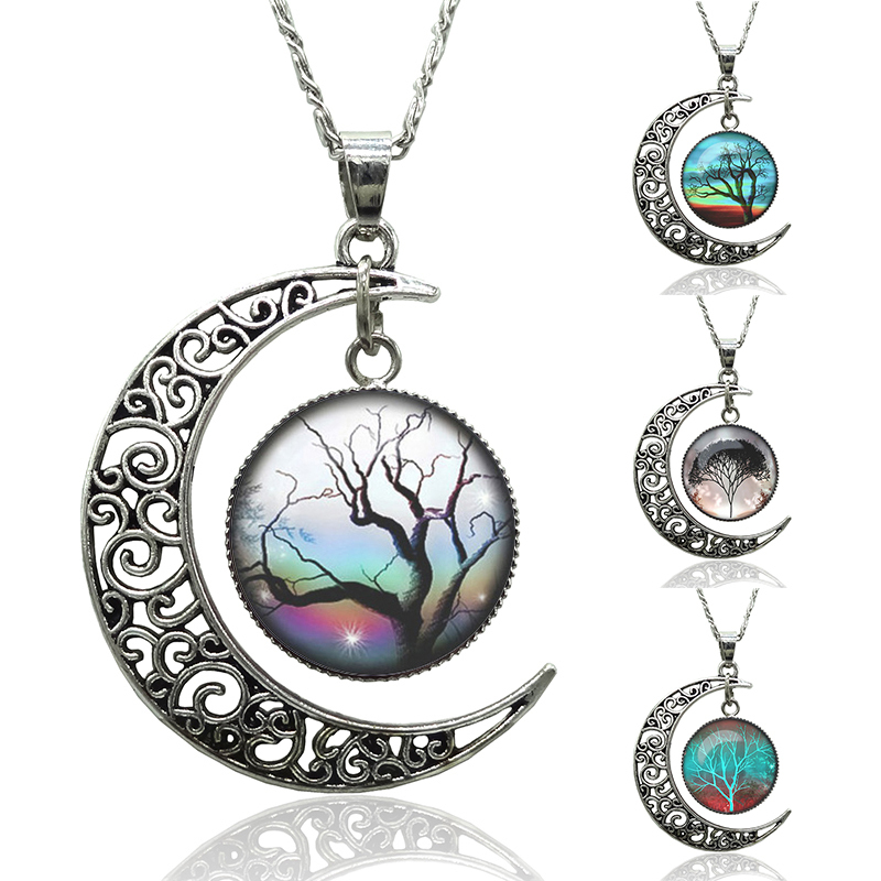 2015 Hot Fashion Women Vintage life tree Starry sky Moon Pendant Long chain Necklace Jewelry(China (Mainland))