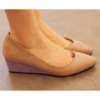 Женские клинья высокие каблуки классические остроконечные toe насосы повседневная женская обувь s