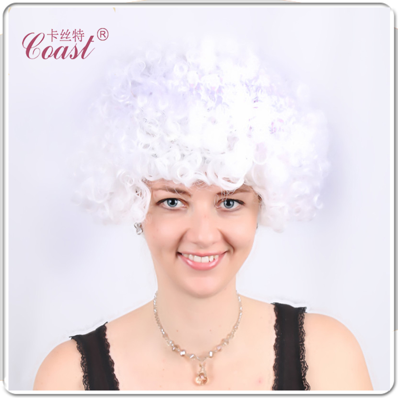 Halloween party afro wigs colorful christmas cosplay hairs clown funny wig new brazil football fans wigs QY-906545(China (Mainland))