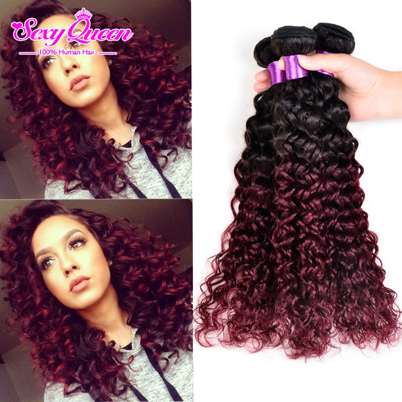 Top Fashion Tissage Malaysian Ombre Red Hair Vip Malaysian Kinky Curly Hair 4 Bundles Glamorous 1B Burgundy Malaysian Curly Hair(China (Mainland))