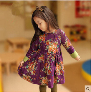 2015 new style high-end printed Flower Pattern Girl Dress kids dresses wear to casual party printed Kid Clothes(China (Mainland))