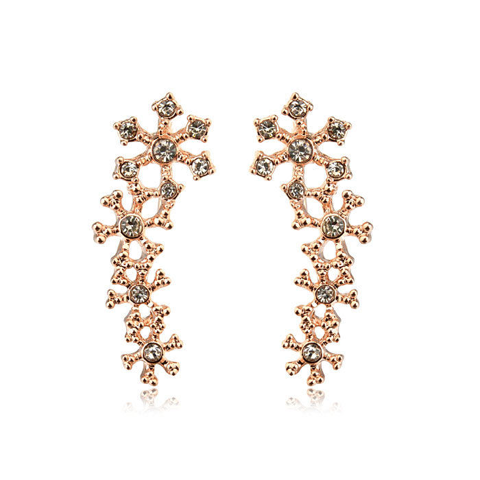 Brand New Rose Gold Plated Crystal Flower Earring Luxury Full CZ Diamond Stud Earring Brincos Bjioux(China (Mainland))