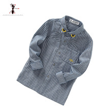2017 Spring Cotton 3 Colors Bule Gray Beige Embroidery Folding Collar Long sleeve Boy's Shirt Clothes for Kids(China (Mainland))