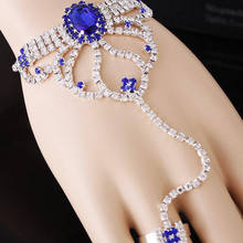 2015 New Free Shipping bridal jewelry sets,wedding jewelry Women sets Unique Rhinestone Flower Chain Bracelet And Ring Set(China (Mainland))