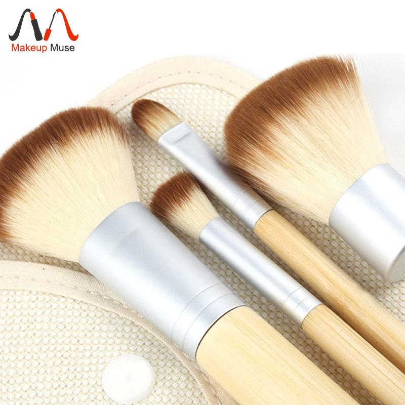 Hot Sale 1set/4Pcs Brushes Earth-Friendly Bamboo Elaborate Professional Cosmetic Makeup Brush Sets #1404(China (Mainland))