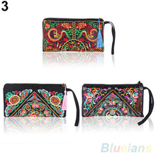 Women s Retro Ethnic Embroider Purse Wallet Clutch Card Coin Holder Phone Bag 1UC2 2ZHX
