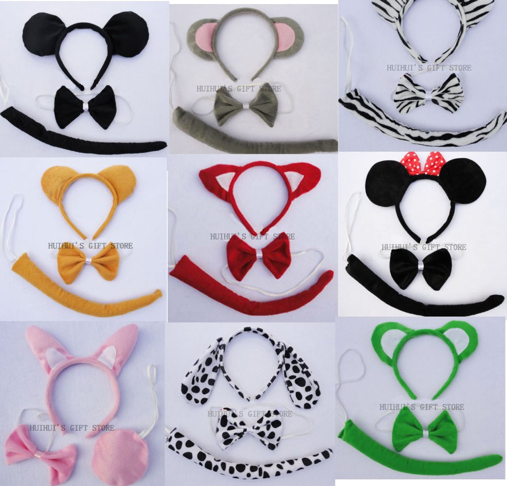 Free shipping COSPLAY,MASCOT,Animal ear set (headband,bow tie,tail)/Tiger,frog,minne,mickey mouse,rabbit,christmas headbandОдежда и ак�е��уары<br><br><br>Aliexpress