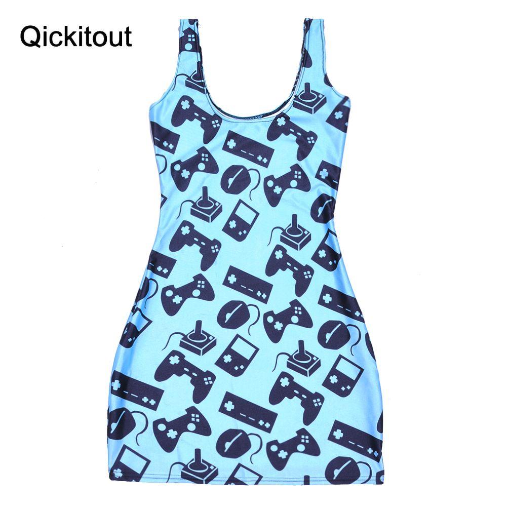 New Sexy fashion Girl sdress 2015 Women Dress Digital Print Blue game machine sports Summer Sleeveless Beach DRESS vestidos(China (Mainland))