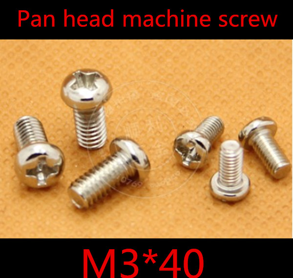 100pcs High Quality Stainless Steel  M3*40  M3  Round  Pan Head Phillips  Machine Screw<br><br>Aliexpress
