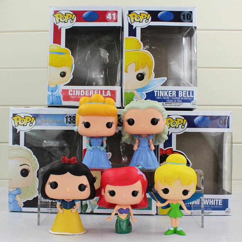 FUNKO POP Princess Cinderella Tinker Bell Ariel Snow White PVC Action Figure FunkoPop Vinyl Figures Collection Toy Doll 4 10CM