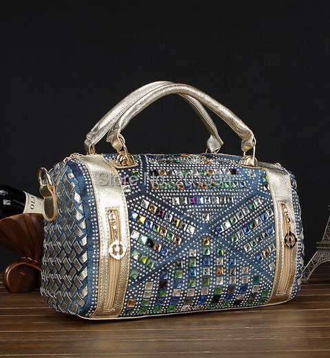 Elegant Luxury Golden/Silver Beading Design Fashion Denim Women Handbags Jeans Shoulder Bags Casual Tote Bags Stylish Women Bag(China (Mainland))