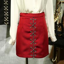 New 2016 Brand Fashion Women Lady High Waist Short Skirt Sexy Bandage Bodycon Skirt Chain Cross decorated Pencil Skirts D523