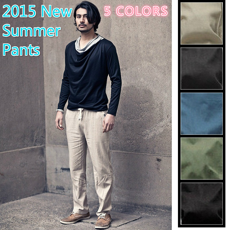 Mens Black Linen Drawstring Pants Drawstring Men Linen Pants