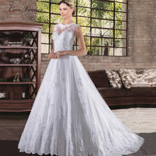Buy C.V Custom made line white color lace wedding dress small training button back sexy lace wedding gown bridal wedding dresses for $74.80 in AliExpress store