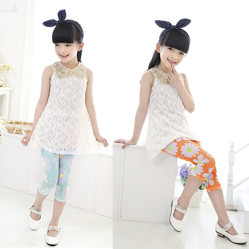 New Arrival Kid Child Dance Render Pants Girls Capri Trousers Cropped Tight Pants 2-7Y