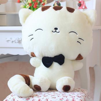 Белый 30 см фаршированные игрушки состояние кошки кукла с палкой