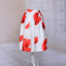New Elastic High Waist Floral Printed Fashion Skirt Elegant A-Line Women's Summer Stretch Knee Length White And Black Skirts