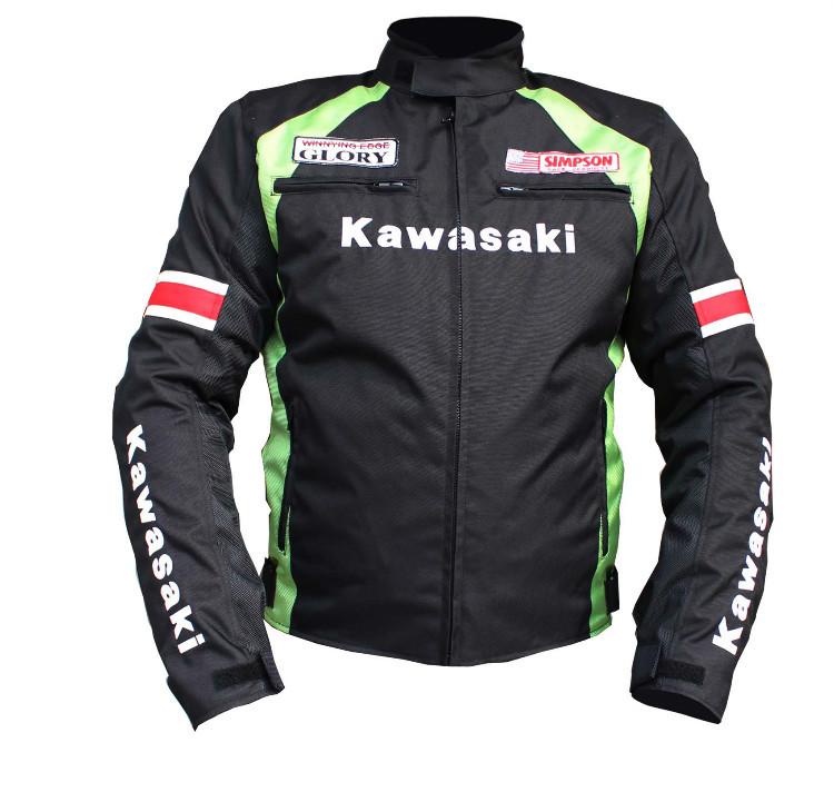 Kawasaki motorcycle jackets summer winter men's motorbike racing jackets protection motocross riding jacket with liner and 5pads(China (Mainland))