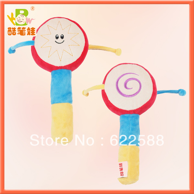Best selling !!! Colorful Baby Handle Rattle Drum plush toys , soft baby toys, educational baby toys