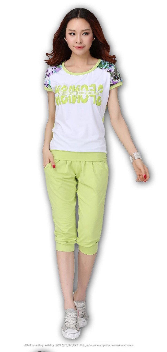 Large size women s summer suit new Korean version was thin loose short sleeved T shirt