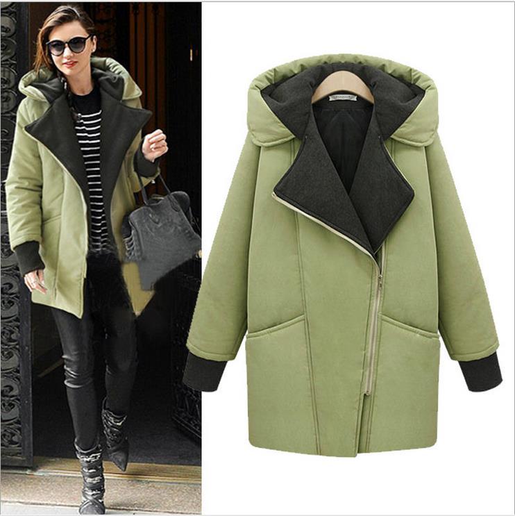 Down Parkas Jackets Coats 2016 new winter coat long section female cocoon-shaped oblique zipper women's fashion Slim cotton(China (Mainland))