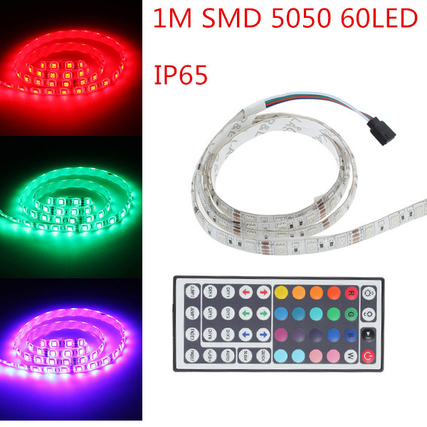 Big Promation High Quality IP65 Waterproof LED Strip Light 5050 SMD 60LED 1Meter RGB LED Rope +44Key IR Remote Controller(China (Mainland))