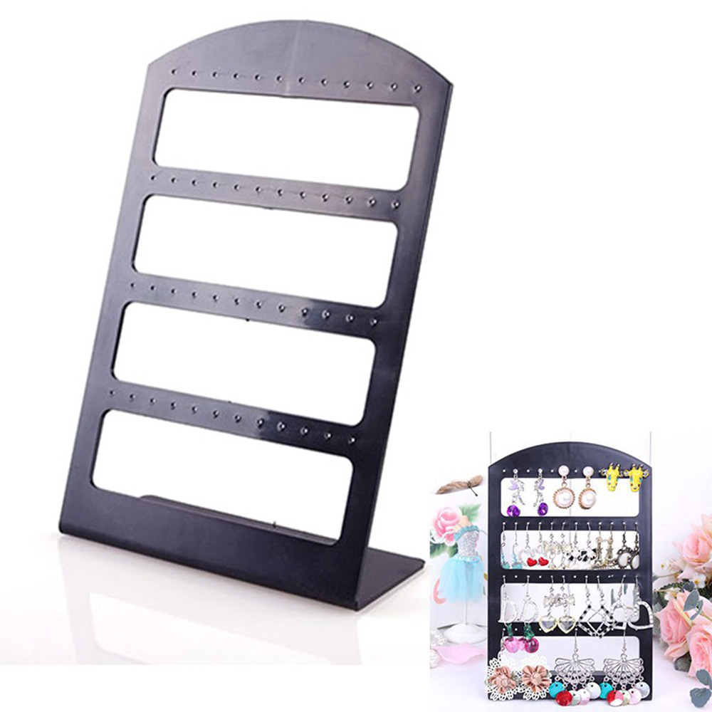 2017 Hot Sale48 Holes Jewelry Organizer Stand Black Plastic Earring Holder Pesentoir Fashion Earrings Display Rack Etagere(China (Mainland))