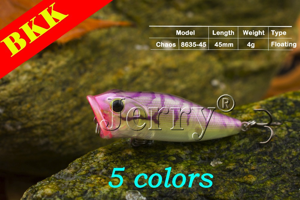 Jerry 5pcs Japan popper 4.5cm/1.8in 4g BKK hook gill opening bass trout salmon bait plug top water surface fishing(China (Mainland))