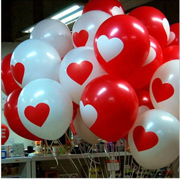 10Pcs Lovely Heart Balloons Wedding Engagement Propose Marriage Balloons Valentines Red White Heart globos Latex Ballons(China (Mainland))