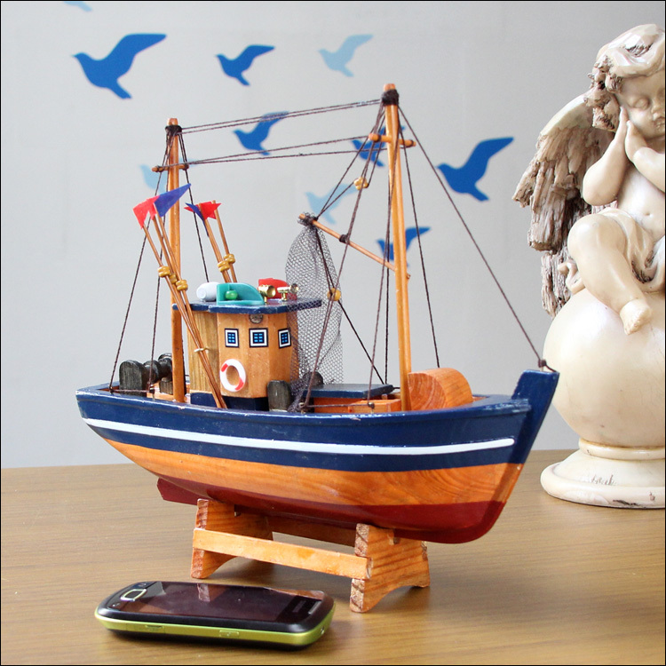 8301f 30cm fishing boat model handcraft wooden sailing for Boat decorations for the home