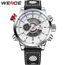 WEIDE New Men Fashion Wristwatches Luxury Famous Brand Men's Leather PU Strap Watch Sports Watches With High Quality Waterproof