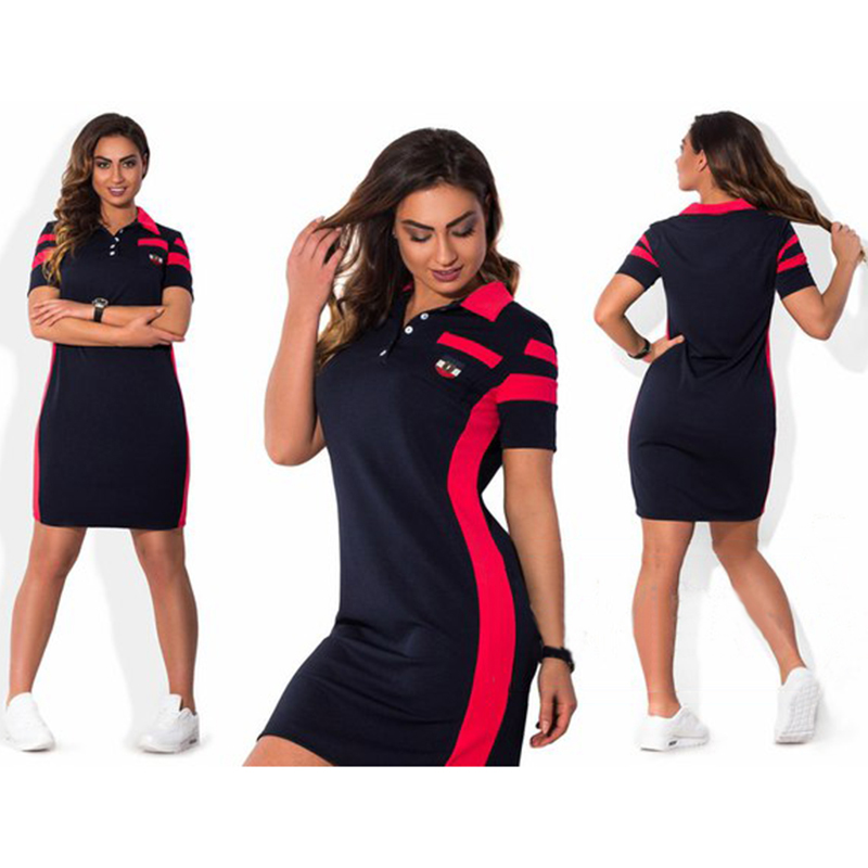 2016 Plus Size Fashion Sports Style Women Dress Style Patchwork Loose Natural Waist Mini Summer