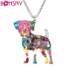 Buy Bonsny Statement Metal Alloy Jack Russel Dog Choker Necklace Chain Collar Bulldog Pendant 2016 Fashion New Enamel Jewelry Women for $4.41 in AliExpress store