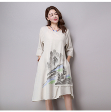 2016 Spring and summer trend women's chinese style landscape print cotton and lined dress casual loose long sleeve dress W30