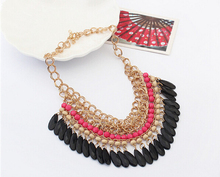 2015 Christmas gift Tassels Drop Vintage Bib statement necklace Fashion Jewelry free shipping