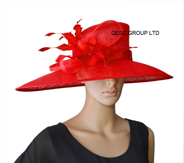 Red New Design X LARGE BRIM Ladies Hat Formal Dress Hat Sinamay Hats Church hats for races/wedding.(China (Mainland))