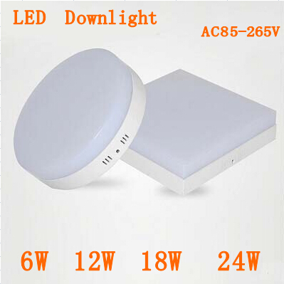 New Surface mounted 6w 12w 18w 24w AC85-265V led downlight panel light 2835SMD Ceiling hallway Down lamp(China (Mainland))