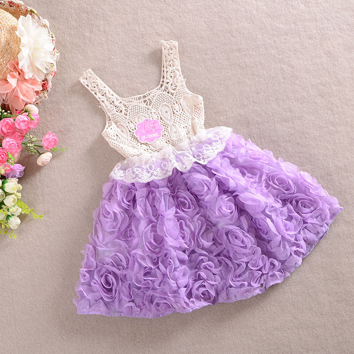 2014 New Design 2-6Y Baby Girls Rose Dress Children Pink Lace Flower Princess Kids Desses JL89