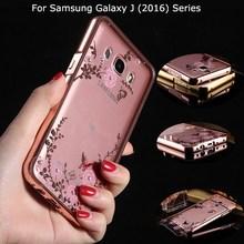 J120 J320 J510 J710 Flower plating Diamond Acrylic & Aluminum Metal Frame Back Case Cover Samsung Galaxy J1 J2 J3 J5 J7 2016 - HHBO K store