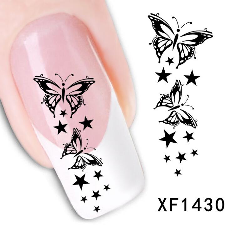 Free Ship Fashion Watermark 1 Sheet 3D Design Cute DIY Black Butterfly Tip Nail Art Nail Sticker Manicure Nail Decal Nail Tools(China (Mainland))