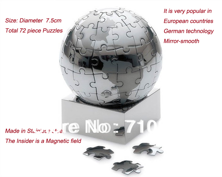 same as Philippi Extravaganza puzzle globe 65 pieces Stainless steel Magnetic World Globe gift Gravity tellurion(China (Mainland))