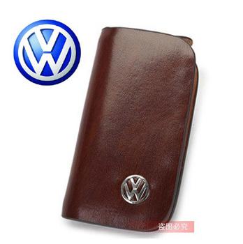 Top Quality VW Volkswagen Auto Key Case Key Bag Keychain Car Logo Holder Key Ring Gifts Genuine Leather Free Ship Via HK post