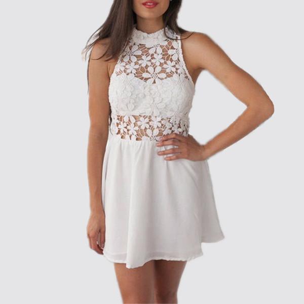 Summer 2015 New Fashion Cute Crochet White Lace Dress Women Sexy Hollow Out Chiffon Woman Casual Sleeveless Mini Dress Party(China (Mainland))