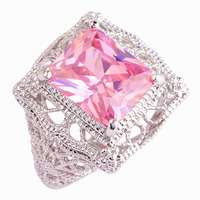Wholesale Popular Endearing Emerald Cut Pink Topaz 925 Silver Ring Size 7 New Design New Fashion