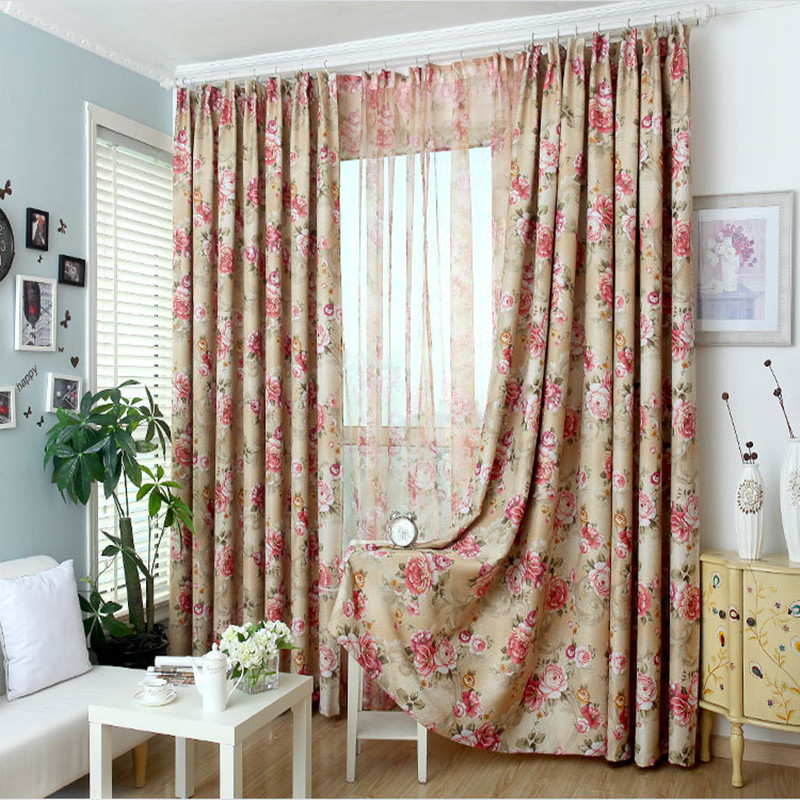 Buy new 2016 pastoral printed tulle for Where to buy drapes